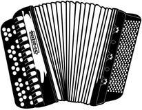 Vetor Clipart dos desenhos animados do instrumento musical de Accordian Imagem de Stock