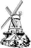 Vetor Clipart dos desenhos animados do moinho de vento Imagem de Stock Royalty Free