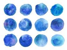 Vetor colorido círculos isolados da pintura da aquarela Fotos de Stock Royalty Free