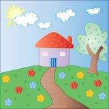 Vetor colorido da casa e da árvore do jardim Fotos de Stock