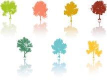 Vetor colorido da reflexão da árvore ilustração do vetor