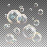 Vetor colorido das bolhas de sabão Água e projeto da espuma Bolhas de sabão da reflexão do arco-íris Ilustração ilustração do vetor