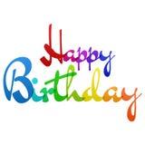 Vetor colorido do arco-íris do feliz aniversario Fotos de Stock Royalty Free