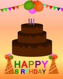 Vetor colorido do cartão do feliz aniversario ilustração stock