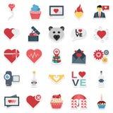 Vetor colorido do dia de Valentim e ícones isolados ilustração stock