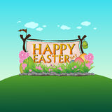 Vetor colorido do projeto do fundo da natureza feliz da paisagem do dia de easter Imagens de Stock Royalty Free
