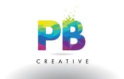 Vetor colorido do projeto dos triângulos do origâmi da letra do PB P B Fotografia de Stock Royalty Free