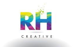 Vetor colorido do projeto dos triângulos do origâmi da letra do RH R H Fotografia de Stock