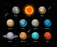 Vetor colorido dos planetas ajustado no fundo escuro Fotografia de Stock Royalty Free