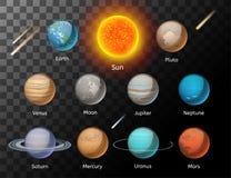 Vetor colorido dos planetas ajustado no fundo escuro Imagens de Stock Royalty Free