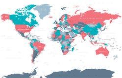 Vetor colorido político do mapa do mundo Imagem de Stock
