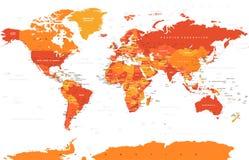 Vetor colorido político do mapa do mundo Fotografia de Stock Royalty Free