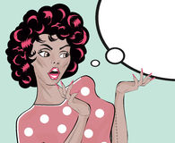 Vetor conservado em estoque Gal Woman Retro Clip Art chocado ilustração Imagem de Stock Royalty Free