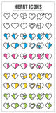 Vetor cor-de-rosa azul do verde amarelo do blck da cor do coração dos ícones nos vagabundos brancos Imagem de Stock Royalty Free