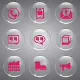 Vetor cor-de-rosa de vidro dos ícones Foto de Stock Royalty Free