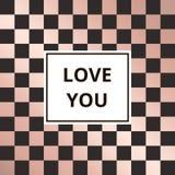Vetor cor-de-rosa do fundo do ouro da xadrez do cartão Imagens de Stock Royalty Free