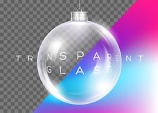 Vetor Crystal Clear Christmas Ball Bola lustrosa realística Imagens de Stock