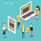Vetor 3D isométrico do conceito de Bitcoin Fotografia de Stock Royalty Free
