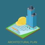 Vetor 3d isométrico liso do plano arquitetónico: construção do arranha-céus Foto de Stock