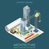 Vetor 3d isométrico liso do plano arquitetónico: construção do arranha-céus Foto de Stock Royalty Free