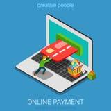 Vetor 3d liso de compra do pagamento em linha móvel isométrico Foto de Stock
