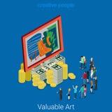 Vetor 3d liso do dinheiro valioso da imagem do negócio da arte isométrico Fotografia de Stock