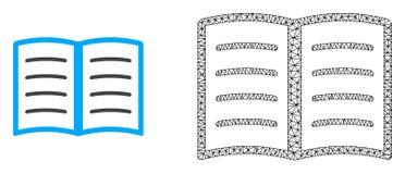 Vetor 2D Mesh Open Book e ícone liso ilustração royalty free