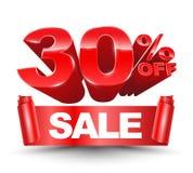 Vetor 3d 30 por cento fora do vermelho Fotos de Stock Royalty Free