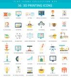 Vetor 3D que imprime o grupo liso do ícone Projeto do estilo elegante ilustração royalty free