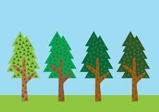 Vetor da árvore ajustado no fundo da cor Fotos de Stock Royalty Free