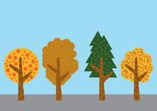 Vetor da árvore ajustado no fundo da cor Foto de Stock