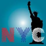 Vetor da arte da corda de NYC com o marco da silhueta dos EUA Imagem de Stock