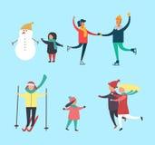 Vetor da atividade das famílias do boneco de neve e das crianças do inverno ilustração do vetor
