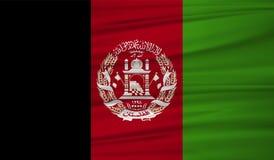 Vetor da bandeira de Afeganistão Blowig da bandeira de Afeganistão do vetor no vento ilustração do vetor