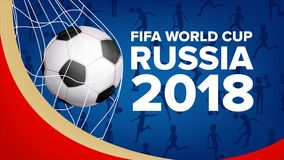 Vetor 2018 da bandeira do campeonato do mundo de FIFA Campeonato Rússia 2018 Anúncio do evento desportivo do futebol E Fotografia de Stock Royalty Free