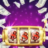 Vetor da bandeira do slot machine Conceito do sucesso do casino do casino tela Jackpot da fortuna Ilustração ilustração do vetor