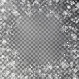 Vetor da beira do floco de neve isolado no fundo transparente Quadro de queda da neve do Natal Xma do inverno ilustração do vetor