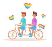 Vetor da bicicleta LGBTQ cartoon ilustração stock