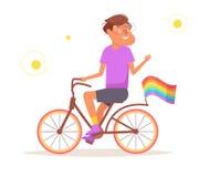 Vetor da bicicleta LGBTQ cartoon ilustração royalty free