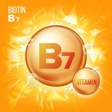 Vetor da biotina da vitamina B7 Ícone do comprimido do óleo do ouro da vitamina Ícone orgânico do comprimido do ouro da vitamina  Imagens de Stock