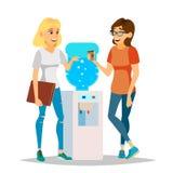 Vetor da bisbolhetice do refrigerador de água Refrigerador de água moderno do escritório Amigos de riso, mulheres dos colegas de  ilustração stock
