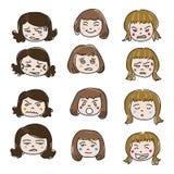 Vetor da cara da emoção da mulher Imagens de Stock Royalty Free