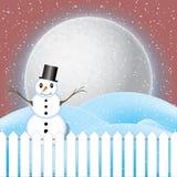 Vetor da cena do inverno, da neve branca e do céu azul Imagens de Stock