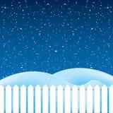 Vetor da cena do inverno, da neve branca e do céu azul Fotos de Stock