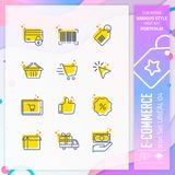 Vetor da cenografia do ícone do comércio eletrônico com linha no conceito simples Ícone de compra em linha direta para o elemento ilustração royalty free
