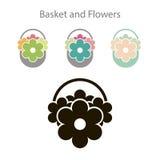Vetor da cesta e da flor do ícone Fotos de Stock Royalty Free