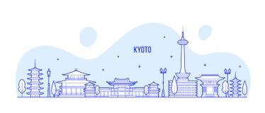 Vetor da cidade de Jap?o do Tamil Nadu da skyline da cidade de Kyoto ilustração stock