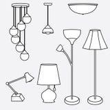 Vetor da coleção da lâmpada, tipos de iluminação Imagens de Stock Royalty Free