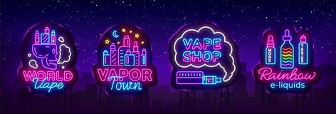 Vetor da coleção do sinal de néon da loja de Vape Os logotipos da loja de Vaping ajustaram o néon do emblema, sua cidade do vapor ilustração royalty free