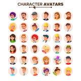 Vetor da coleção dos Avatars dos povos Avatar dos caráteres do defeito Ilustração isolada plano dos desenhos animados ilustração stock